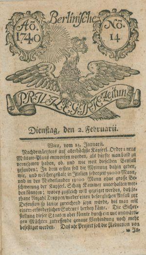 Berlinische privilegirte Zeitung vom 02.02.1740