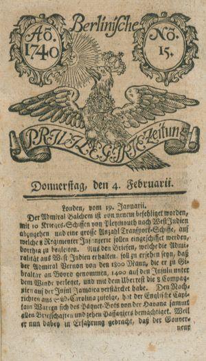 Berlinische privilegirte Zeitung vom 04.02.1740