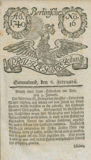 Berlinische privilegirte Zeitung vom 06.02.1740