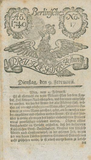 Berlinische privilegirte Zeitung vom 09.02.1740