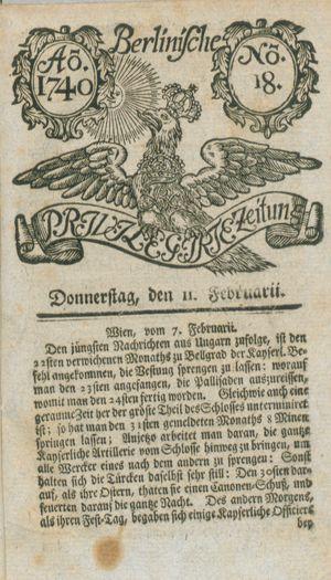 Berlinische privilegirte Zeitung vom 11.02.1740