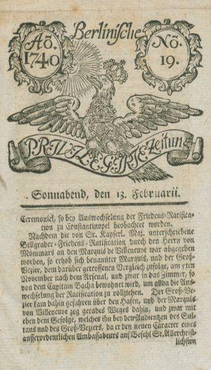 Berlinische privilegirte Zeitung vom 13.02.1740