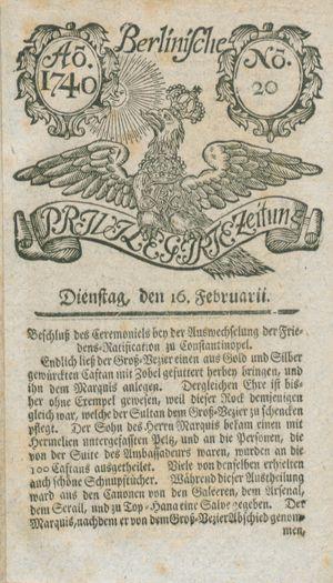 Berlinische privilegirte Zeitung vom 16.02.1740