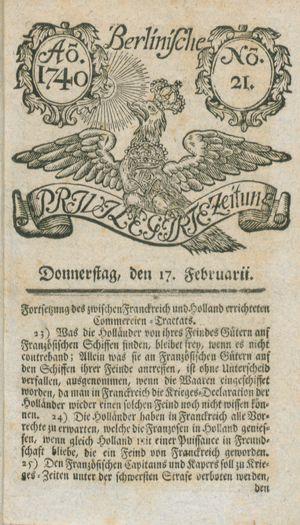Berlinische privilegirte Zeitung vom 17.02.1740