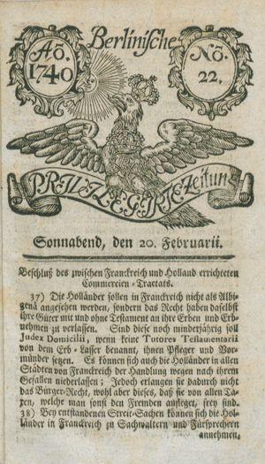 Berlinische privilegirte Zeitung on Feb 20, 1740