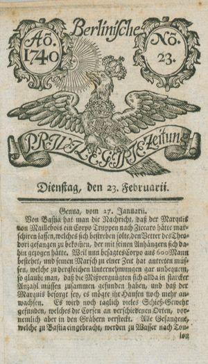 Berlinische privilegirte Zeitung vom 23.02.1740