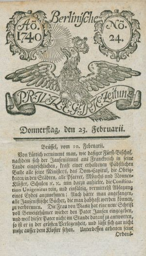 Berlinische privilegirte Zeitung vom 25.02.1740