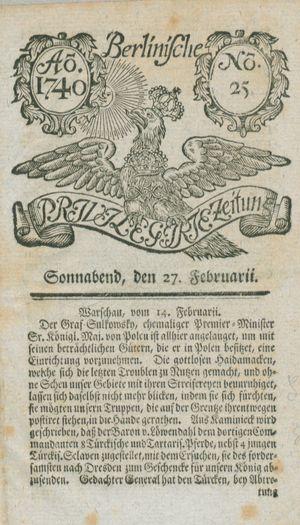 Berlinische privilegirte Zeitung on Feb 27, 1740