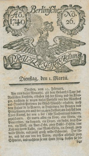 Berlinische privilegirte Zeitung vom 01.03.1740