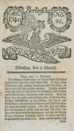 Berlinische privilegirte Zeitung vom 08.03.1740