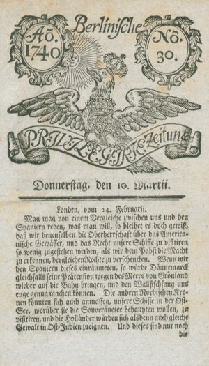 Berlinische privilegirte Zeitung vom 10.03.1740