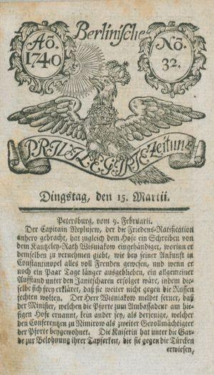 Berlinische privilegirte Zeitung vom 15.03.1740