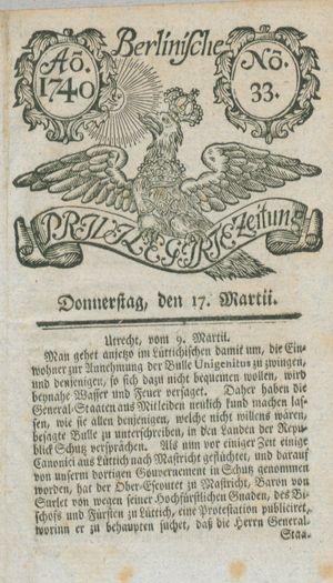 Berlinische privilegirte Zeitung vom 17.03.1740