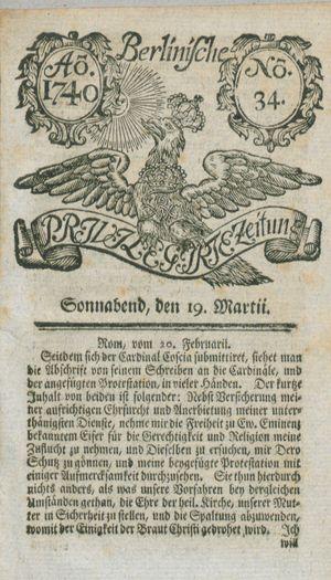 Berlinische privilegirte Zeitung vom 19.03.1740