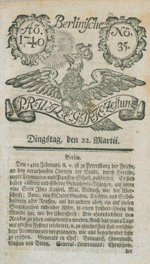 Berlinische privilegirte Zeitung vom 22.03.1740