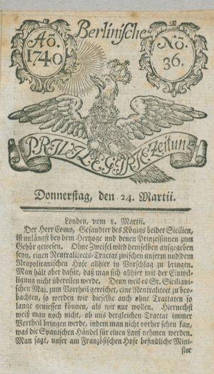 Berlinische privilegirte Zeitung vom 24.03.1740