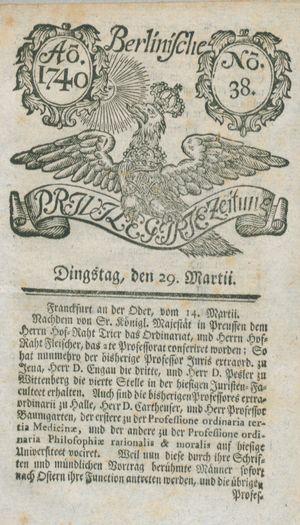 Berlinische privilegirte Zeitung vom 29.03.1740