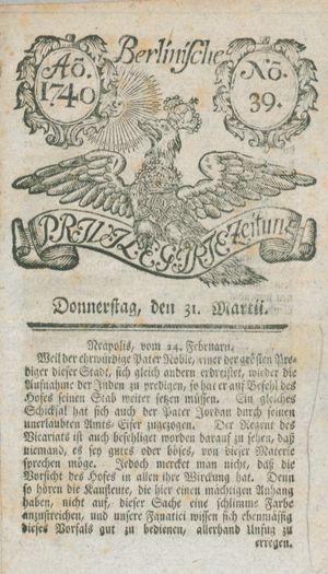 Berlinische privilegirte Zeitung vom 31.03.1740