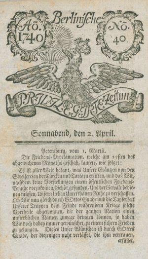 Berlinische privilegirte Zeitung vom 02.04.1740