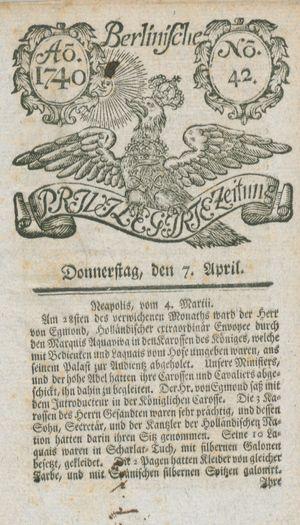 Berlinische privilegirte Zeitung vom 07.04.1740