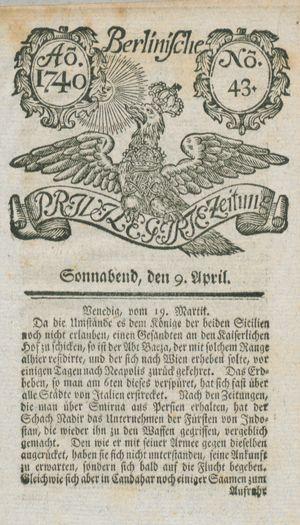 Berlinische privilegirte Zeitung vom 09.04.1740