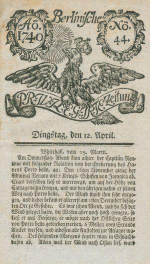 Berlinische privilegirte Zeitung vom 12.04.1740