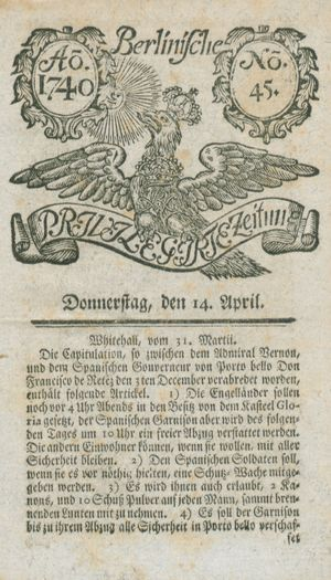 Berlinische privilegirte Zeitung on Apr 14, 1740