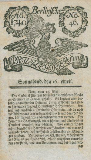 Berlinische privilegirte Zeitung vom 16.04.1740