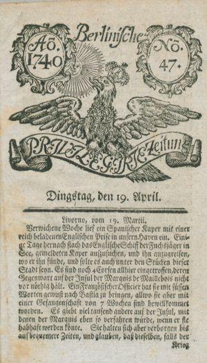 Berlinische privilegirte Zeitung vom 19.04.1740
