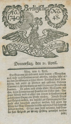 Berlinische privilegirte Zeitung vom 21.04.1740