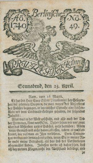 Berlinische privilegirte Zeitung vom 23.04.1740
