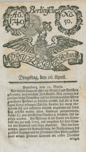 Berlinische privilegirte Zeitung vom 26.04.1740