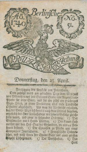 Berlinische privilegirte Zeitung vom 28.04.1740