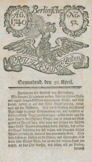 Berlinische privilegirte Zeitung vom 30.04.1740