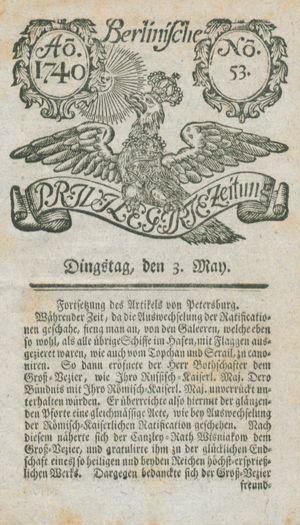 Berlinische privilegirte Zeitung vom 03.05.1740