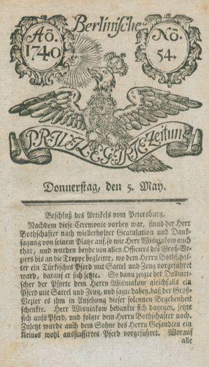 Berlinische privilegirte Zeitung vom 05.05.1740