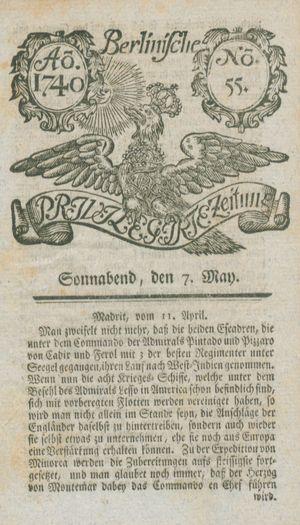 Berlinische privilegirte Zeitung vom 07.05.1740