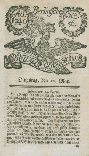 Berlinische privilegirte Zeitung vom 10.05.1740