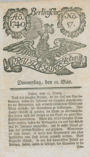 Berlinische privilegirte Zeitung vom 12.05.1740