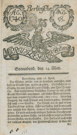 Berlinische privilegirte Zeitung vom 14.05.1740