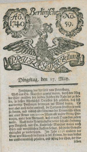 Berlinische privilegirte Zeitung vom 17.05.1740