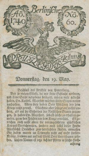 Berlinische privilegirte Zeitung vom 19.05.1740