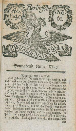 Berlinische privilegirte Zeitung vom 21.05.1740