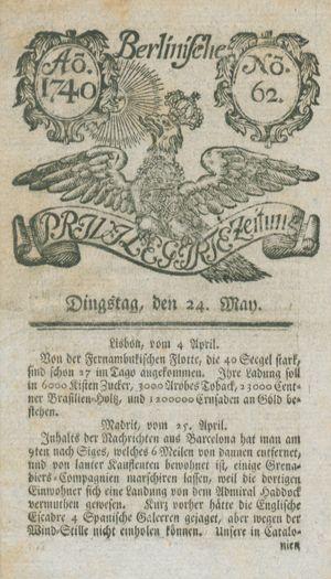 Berlinische privilegirte Zeitung on May 24, 1740