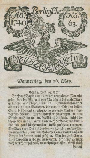 Berlinische privilegirte Zeitung vom 26.05.1740