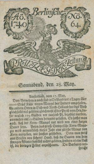 Berlinische privilegirte Zeitung vom 28.05.1740