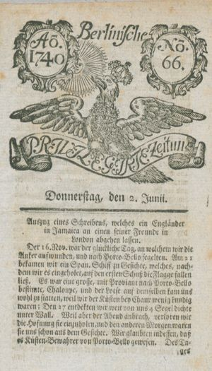 Berlinische privilegirte Zeitung vom 02.06.1740
