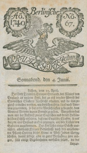 Berlinische privilegirte Zeitung vom 04.06.1740