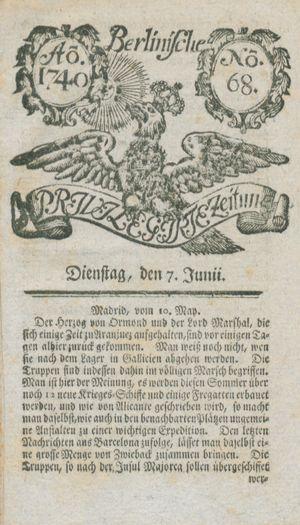 Berlinische privilegirte Zeitung vom 07.06.1740