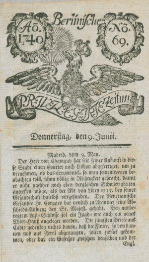 Berlinische privilegirte Zeitung vom 09.06.1740